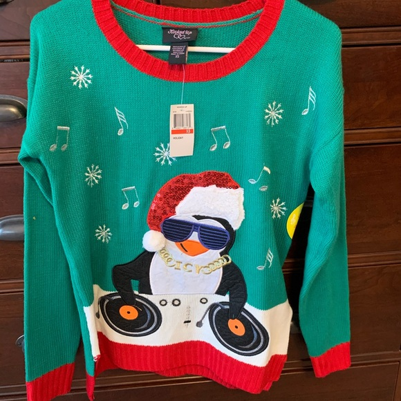 Ugly Christmas sweater Penguin DJ plays music NWT